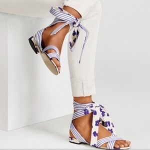 CAbi Tied Up 6013 Floral Stripe Ankle Wrap Sandals